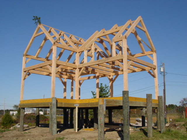 Custom made timber frame using traditional compound joineries